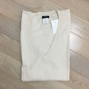 J.Crew white cream Giza cotton v-neck sweater NEW